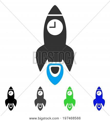 Space Rocket Time flat vector pictogram. Colored space rocket time gray, black, blue, green pictogram versions. Flat icon style for application design.