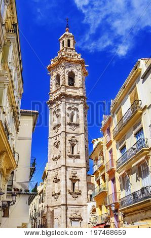 Santa Catalina, Saint Catherine Martyr church - bell tower in Valencia, Spain, Europe