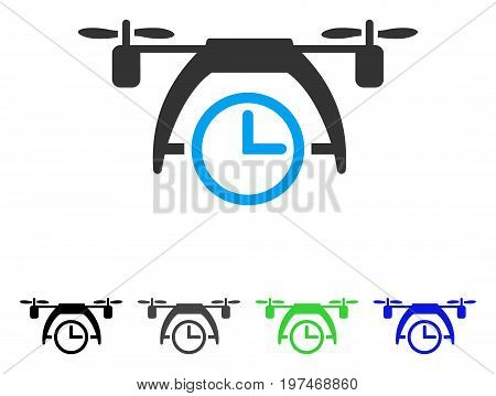 Drone Clock flat vector pictograph. Colored drone clock gray, black, blue, green pictogram versions. Flat icon style for web design.