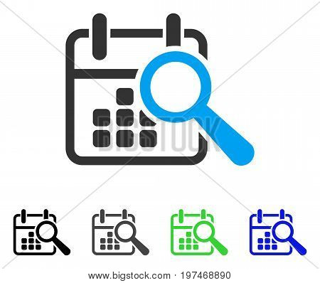 Find Date flat vector icon. Colored find date gray, black, blue, green pictogram versions. Flat icon style for application design.
