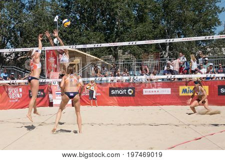 Vienna - July 29 2017: woman players Gordon and Saxton from team Canada win in two sets against players Meppelink and Van Gestel from team Netherlands at the Beach Volleyball Worldchampionships 2017 on the Vienna Donauinsel