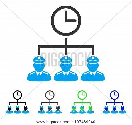 Time Army flat vector illustration. Colored time army gray, black, blue, green pictogram versions. Flat icon style for web design.