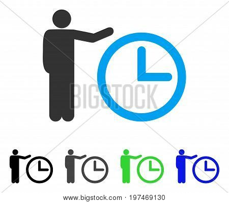 Time Show flat vector illustration. Colored time show gray, black, blue, green icon variants. Flat icon style for application design.