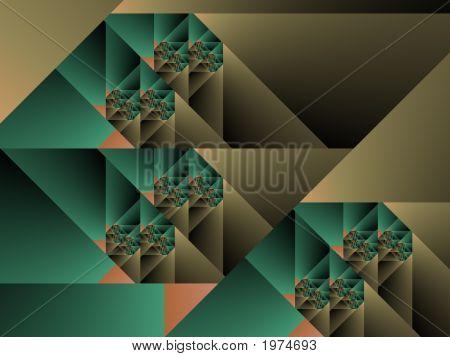 Optical Art Cubist Fractal One Green And Caqui
