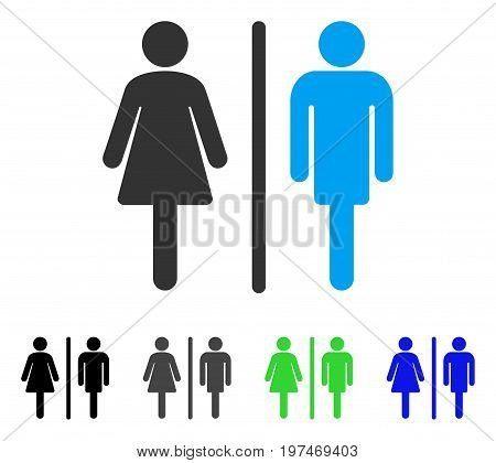 WC Persons flat vector icon. Colored wc persons gray, black, blue, green pictogram versions. Flat icon style for application design.