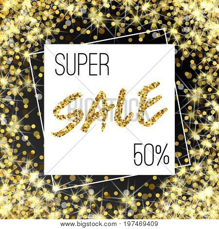 Gold Sale Background In Frame. Yellow Confetti Foil Flyer, Poster, Shopping, For Selling Sign, Disco
