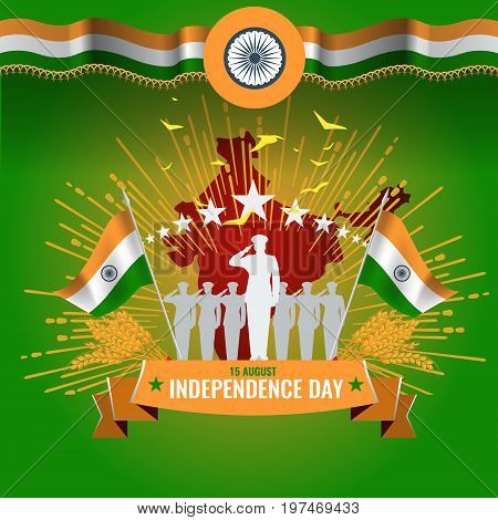 Festive illustration of independence day in India celebration on August 15. vector design elements of the national day. Poster or greeting card template.