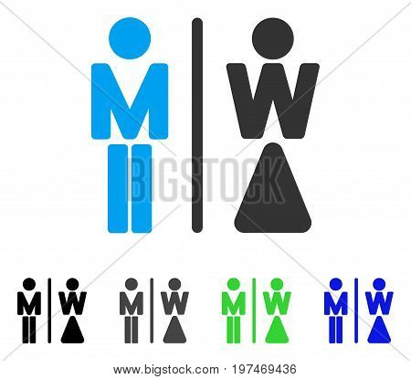 WC Persons flat vector illustration. Colored wc persons gray, black, blue, green pictogram variants. Flat icon style for graphic design.
