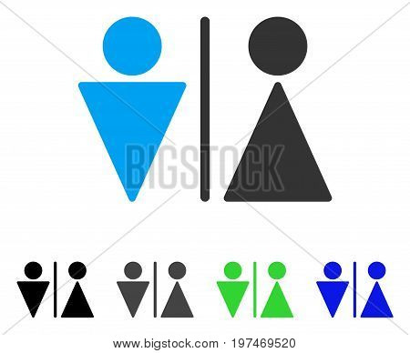 WC Persons flat vector icon. Colored wc persons gray, black, blue, green icon versions. Flat icon style for application design.