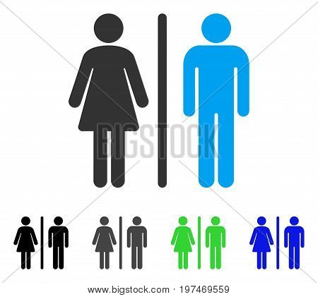 WC Persons flat vector pictograph. Colored wc persons gray, black, blue, green icon versions. Flat icon style for graphic design.
