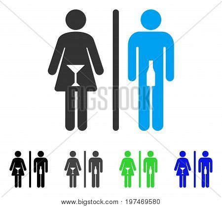 WC Persons flat vector pictograph. Colored wc persons gray, black, blue, green pictogram versions. Flat icon style for application design.