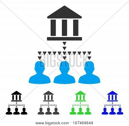 Bank Building Client Links flat vector icon. Colored bank building client links gray, black, blue, green icon variants. Flat icon style for application design.