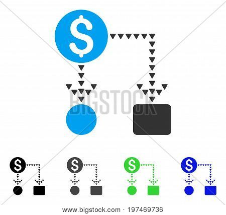 Cashflow Scheme flat vector icon. Colored cashflow scheme gray, black, blue, green pictogram variants. Flat icon style for web design.