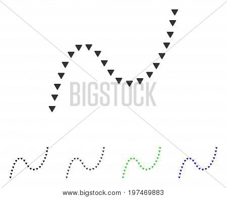 Dotted Curve flat vector icon. Colored dotted curve gray, black, blue, green pictogram variants. Flat icon style for graphic design.