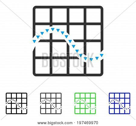 Dotted Function Chart flat vector illustration. Colored dotted function chart gray, black, blue, green pictogram versions. Flat icon style for graphic design.