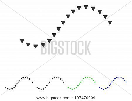 Dotted Function Line flat vector pictogram. Colored dotted function line gray, black, blue, green icon variants. Flat icon style for application design.