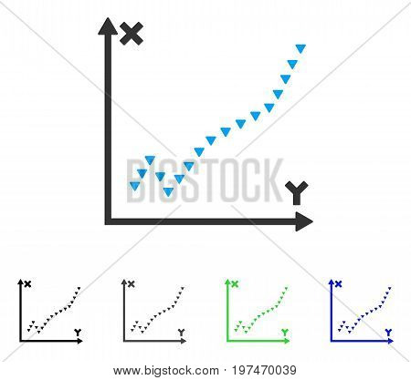 Dotted Function Plot flat vector pictograph. Colored dotted function plot gray, black, blue, green pictogram versions. Flat icon style for application design.