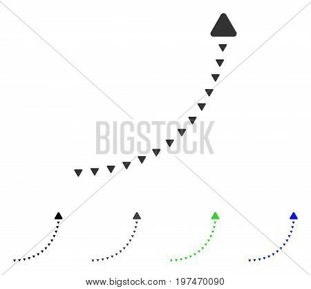 Dotted Growth Line flat vector pictogram. Colored dotted growth line gray, black, blue, green pictogram variants. Flat icon style for web design.