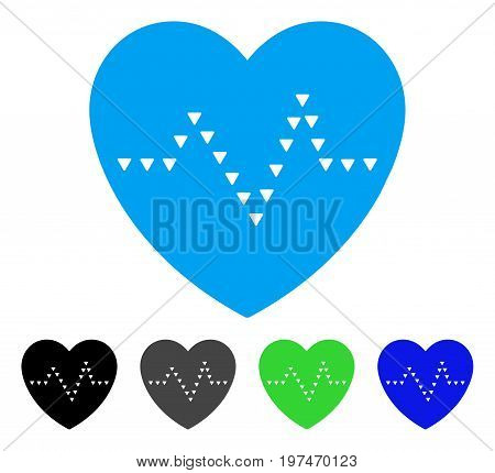 Dotted Heart Pulse flat vector illustration. Colored dotted heart pulse gray, black, blue, green icon variants. Flat icon style for graphic design.