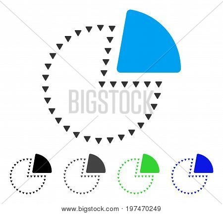 Dotted Pie Chart flat vector icon. Colored dotted pie chart gray, black, blue, green pictogram variants. Flat icon style for application design.