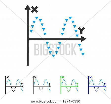 Dotted Sine Plot flat vector pictogram. Colored dotted sine plot gray, black, blue, green icon versions. Flat icon style for web design.