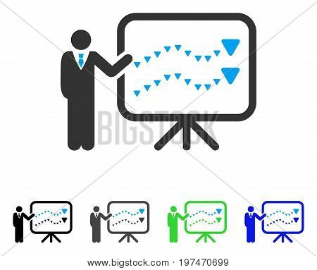 Trends Presentation flat vector illustration. Colored trends presentation gray, black, blue, green pictogram variants. Flat icon style for graphic design.