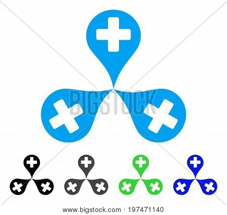 Hospital Map Markers flat vector icon. Colored hospital map markers gray, black, blue, green pictogram variants. Flat icon style for web design.
