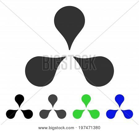 Map Markers flat vector icon. Colored map markers gray, black, blue, green icon variants. Flat icon style for web design.