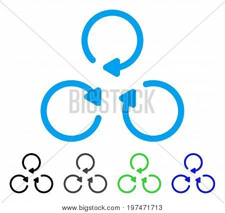 Rotation flat vector pictogram. Colored rotation gray, black, blue, green pictogram variants. Flat icon style for graphic design.