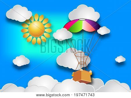 Balloon in the sky with the sun and clouds, vector art illustrations.