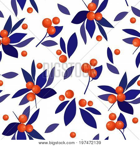Berries Branch Seamless Floral Pattern Colorful