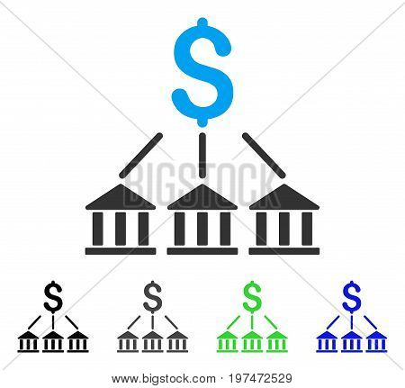 Bank Association flat vector pictograph. Colored bank association gray, black, blue, green icon variants. Flat icon style for web design.