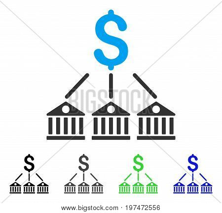 Bank Expenses flat vector icon. Colored bank expenses gray, black, blue, green pictogram variants. Flat icon style for application design.