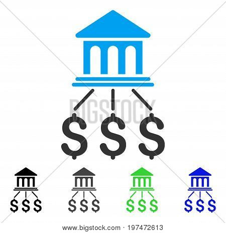 Bank Scheme flat vector pictograph. Colored bank scheme gray, black, blue, green pictogram variants. Flat icon style for graphic design.