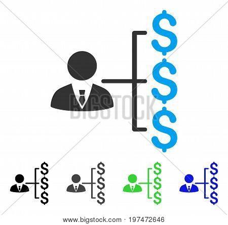 Banker Payments flat vector icon. Colored banker payments gray, black, blue, green icon versions. Flat icon style for web design.