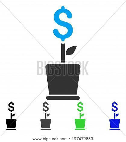 Business Project Plant flat vector pictogram. Colored business project plant gray, black, blue, green icon versions. Flat icon style for web design.