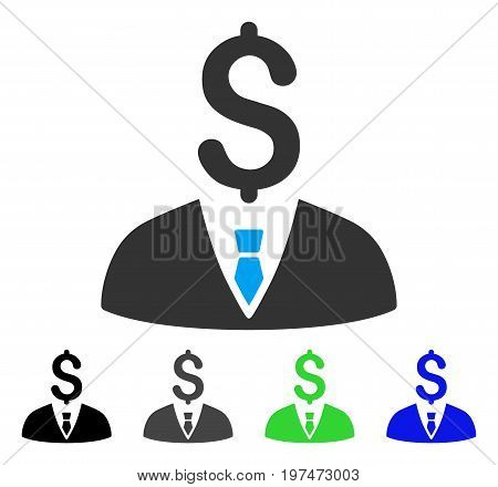 Businessman flat vector pictograph. Colored businessman gray, black, blue, green icon versions. Flat icon style for application design.