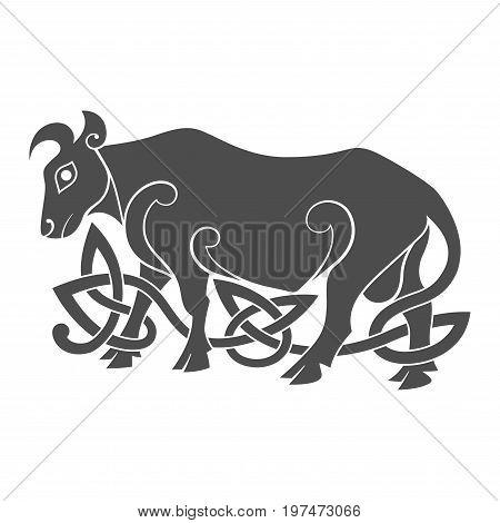 Ancient celtic mythological symbol of bull. Vector knot ornament.