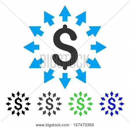 Dollar Distribution flat vector pictograph. Colored dollar distribution gray, black, blue, green icon versions. Flat icon style for web design.
