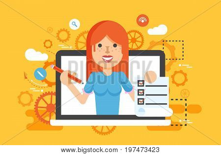 Stock vector illustration woman laptop notebook offers fill in application form design element education, subscription, email marketing, newsletter online management flat style yellow background icon