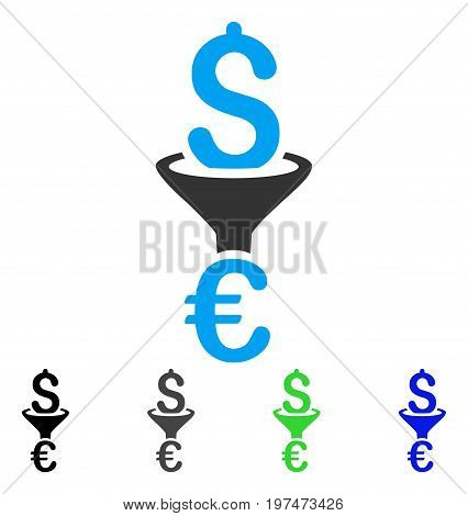 Dollar Euro Conversion Filter flat vector pictogram. Colored dollar euro conversion filter gray, black, blue, green pictogram versions. Flat icon style for application design.