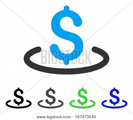 Dollar Location flat vector pictogram. Colored dollar location gray, black, blue, green pictogram versions. Flat icon style for graphic design.