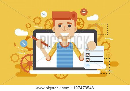 Stock vector illustration man laptop notebook offers fill in application form design element education, subscription, email marketing, newsletter online management flat style yellow background icon