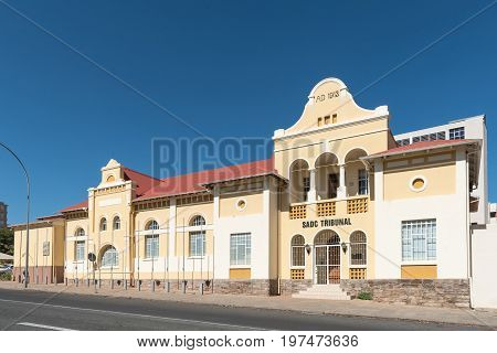 WINDHOEK NAMIBIA - JUNE 17 2017: The offices of the SADC Tribunal in the historic Turnhalle built 1913 in Windhoek the capital city of Namibia