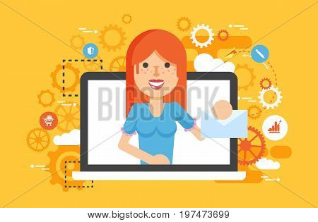 Stock vector illustration woman laptop notebook delivery receive of letter posts design element mail, subscription, email marketing, newsletter online management flat style yellow background icon
