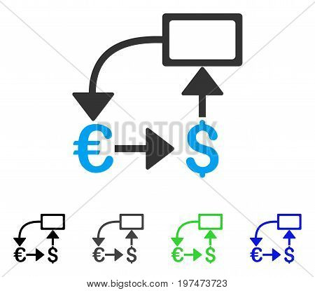 Euro Dollar Flow Chart flat vector pictogram. Colored euro dollar flow chart gray, black, blue, green icon variants. Flat icon style for application design.