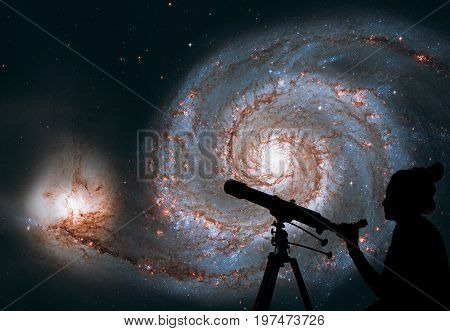 Girl Looking At The Stars With Telescope. Whirlpool Galaxy. Spiral Galaxy M51 Or Ngc 5194.elements O