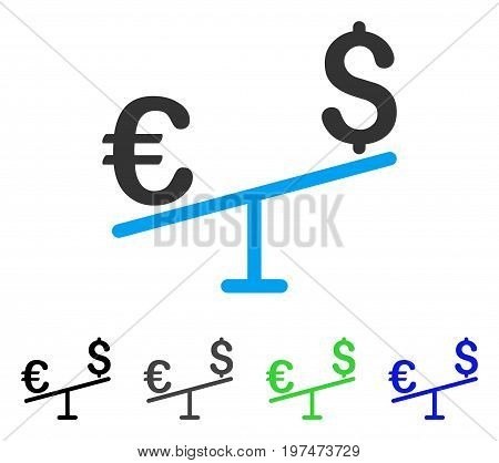 Euro Dollar Swing flat vector pictograph. Colored euro dollar swing gray, black, blue, green icon versions. Flat icon style for application design.