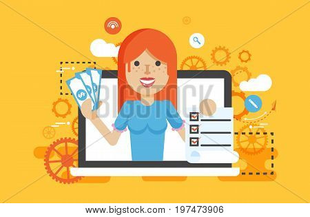 Stock vector illustration woman laptop notebook offers fill in application form design element email marketing, newsletter money win earning, income, discount, online flat style yellow background icon
