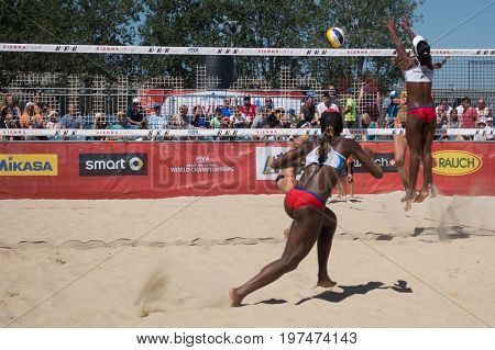 Vienna - July 29 2017: woman players Elsa and Amaranta from team Spain win in two sets against players Echeverria and Martinez from team Cuba at the Beach Volleyball Worldchampionships 2017 on the Vienna Donauinsel